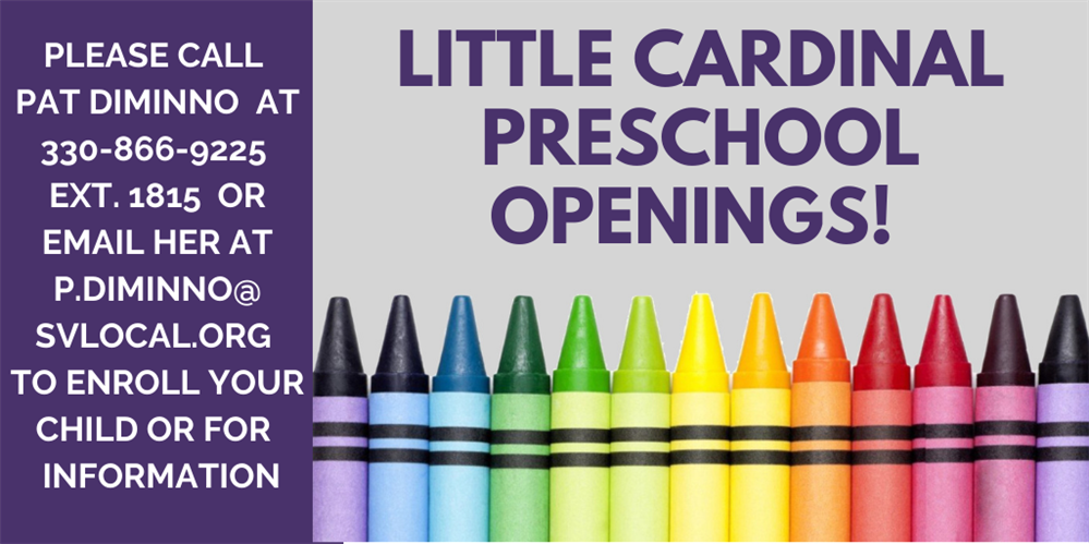 Little Cardinal Preschool has openings available!
