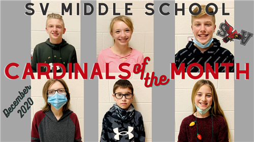 SVMS December Cardinals of the Month